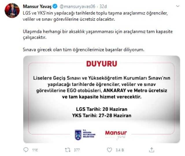 Ankara'da LGS ve YKS'nin yapılacağı tarihlerde toplu taşıma ücretsiz