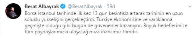 Bakan Albayrak: Borsa İstanbul tarihinin en uzun soluklu yükselişini gerçekleştirdi